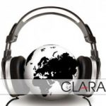 Clara logo - depicting headphones sandwiching the globe.